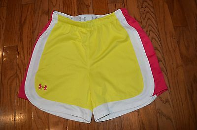 Girls UNDER ARMOUR Heat Gear Yellow/Pink/White Shorts Size YLG