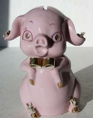 Pink Pig Piggy Figurine Coin Bank Lefton Gold Bow Tie Spaghetti Rhinestone Eyes