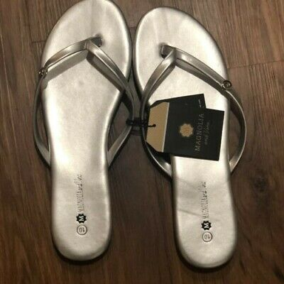 ca3a6349a61a Magnolia and Vine Silver Mini Snap Flip Flops Womens Size 10 Vegan Leather  12mm
