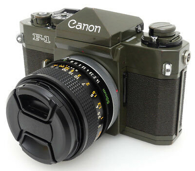 Canon F-1 Olive Drab 35mm SLR Film Camera + FD 50mm F1.4 S.S.C. Lens