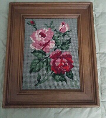 Vintage Finished Needlepoint Roses,  Wood Frame (There is a story here)