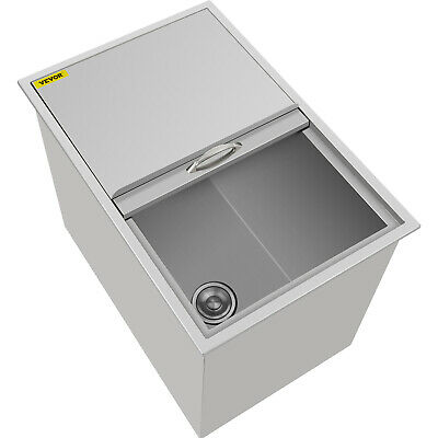 "18""X 27""X21"" Drop In Ice Chest Bin With Cover + Drain Lid Condiments Cooler"