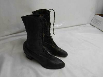 Antique VICTORIAN WOMENS BLACK LEATHER BOOTS Shoes Display Prop Old Vtg
