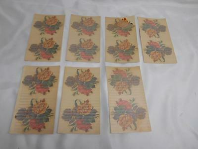 Antique Acme Decalcomania #1280 FLOWER DECALS Restoration 7 sheets of 2 UNUSED