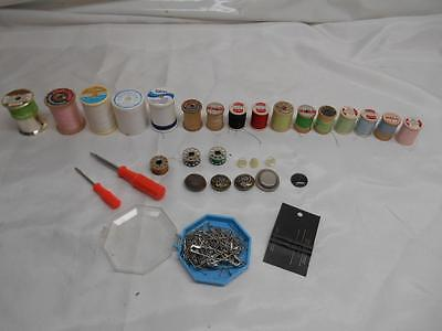 Old Vtg Lot Sewing Notions Wood Spools Thread Pins Needles Bobbins Buttons Tools