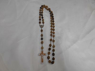 Old Vtg Religious Wood Beads ROSARY Crucifix Cross Jerusalem Rosaries