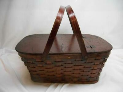 Antqiue Wood Weaved PICNIC BASKET Fold Down handles Hinged Lid Old Vtg MUST SEE