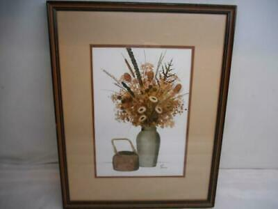 Old Artist Signed FUSCO Watercolor Painting Botanical Wood Frame Wall Hanging