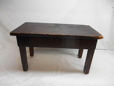 Antique Primitive Wood BENCH MILKING STOOL SEAT Furniture Old Vtg Stand Table