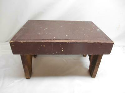 Antique Primitive Wood MILKING STOOL Step Bench seat Old Vtg Furniture Decor