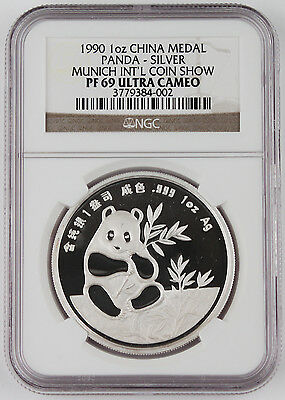 1990 China Munich Intl Coin Expo 1 Oz Silver Panda Proof Medal Coin NGC PF69 UC