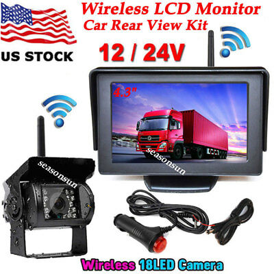 """Wireless 4.3"""" TFT LCD Color Monitor +18LEDs IR Parking Backup Rear View Camera"""