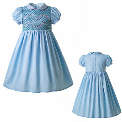Spanish Kids Girls Hand-Smocked Dress Holiday Party Pageant Outfits Summer 2-12Y
