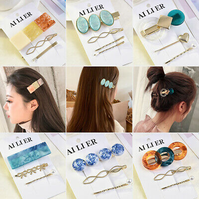 3Pcs/Set Women Girls Pearl Hair Clip Snap Barrette Hairpin Hair Accessories New