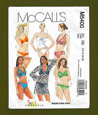 2bff4d4f55d Classic Two Piece Swimsuits & Cover Up Sewing Pattern (12-18) McCalls 5400
