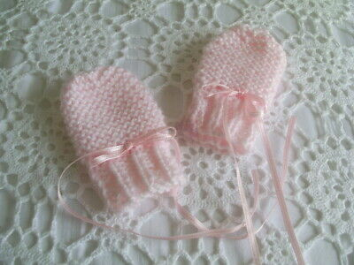 Hand Knitted Baby  Mittens