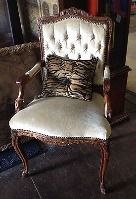 Authentic French Antique Button & Tucked Back Louis XV Style Accent/Side Chair