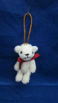 """Miniature 1-3/4"""" Plastic Fuzzy White Jointed Teddy Bear with Red Bow Ornament"""