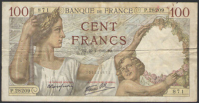 FRANCE - 100 FRANCS 1942 - Banknote Note P 94 P94 (F)