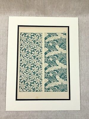 Antique Japanese Print  Design for Silk Textile Painting Green Fern Meiji Art