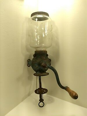 Arcade Crystal No 3 Cast Iron Antique Coffee Grinder Collectible Mill Vtg Teal