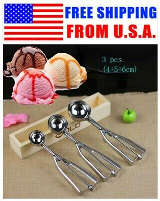 Muffin Mash Scoop Spoon Ice Cream Craft Stainless Steel Hot Cookie Dough 4/5/6cm