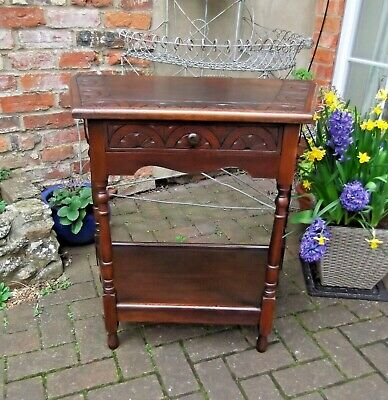 Carved Canted Oak Hall Console Table, Side/Lamp Table~Desk~Drawer & Undershelf