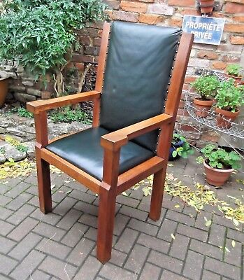 Large Solid Oak Arts & Crafts Arm Chair~Carver~Desk~Library~Forest Green Leather