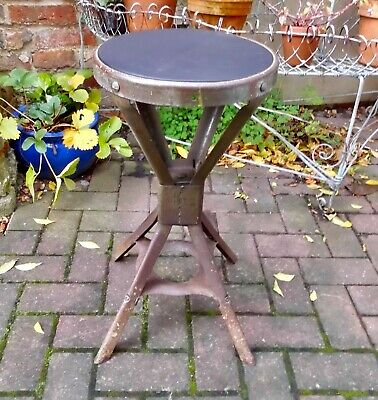 Machinist/Engineers Factory Stool~Evertaut~Industrial~Workshop~Leather Seat~1930
