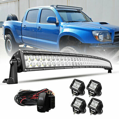 """52Inch Curved LED Light Bar +4X 4"""" 18W Pods Offroad Boat SUV 4WD UTV TRUCK 54''"""