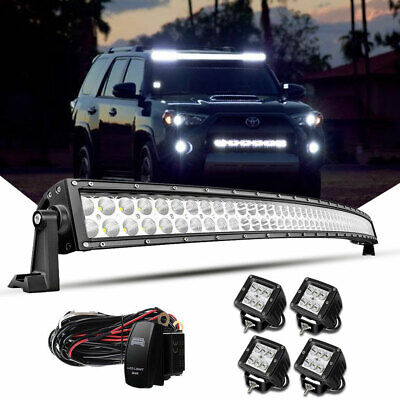 52inch LED Light Bar 700W Curved Combo+4x 4'' Pods SUV 4X4 Boat Offroad+Wiring