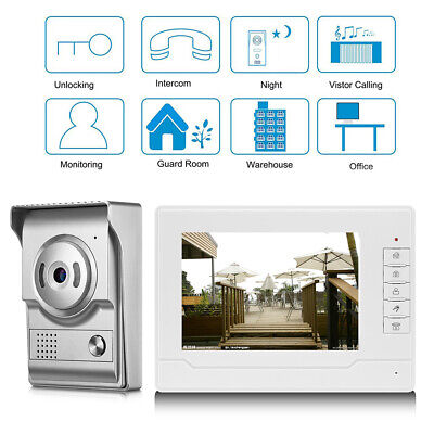"""7"""" TFT LCD Intercom Video Door Bell Phone Camera Monitor For Home Office System"""