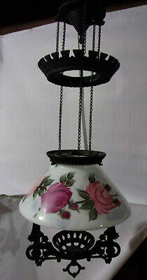 Cast Iron Eastlake style Hanging Oil Parlor Lamp with beautiful signed shade