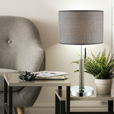 Fabric Table Lamp Chrome Reading Floor Lamp Office Side Lighting Stone Look