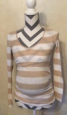 XS Old Navy Maternity Tan Ivory Striped Blouse Top Shirt Ribbed Sides