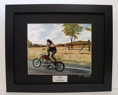 Indian Larry Paul Cox  Leather Bobber Ltd Edition  Signed Framed Motorcycle Art