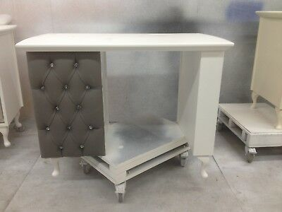3 Drawer Manicure Desk-with padded front - Shabby Chic - supplied with glass top