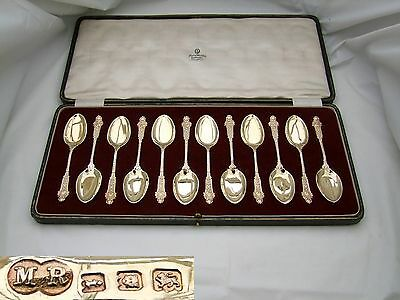 RARE GEORGE V SET of 12 HM STERLING SILVERGILT ICE CREAM SPOONS 1924