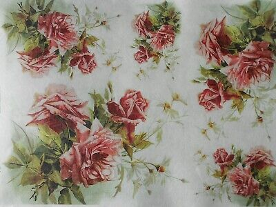 Beautiful Rice Paper for Decoupage Pink Roses Daisies