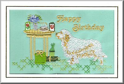 Clumber Spaniel Birthday Card Embroidered by Dogmania - FREE PERSONALISATION