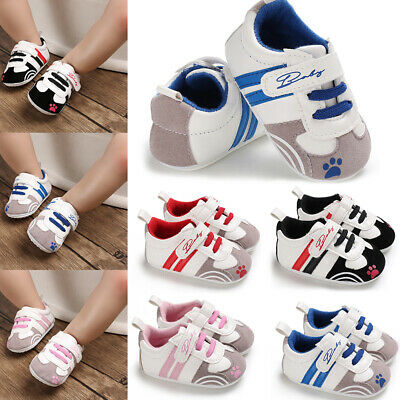 Newborn Baby Boy Girl Soft Sole Pram Shoes Toddler Pre Walker Sneakers Trainers