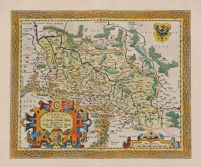 Old Silesia early MAP in facsimile on loose paper Germany Czech Republic Poland