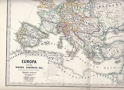 Early map. Europe after the Congress of Vienna, 1815. The siege of Sevastopol