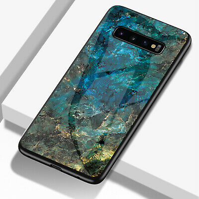 For Samsung S10 Plus Case Marble Pattern Slim Shockproof Tempered Glass Cover