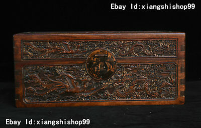 """16"""" China Huanghuali Wood handcrafted Dragon Phoenix Jewelry Box Container Boxes"""