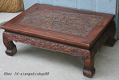 "26"" Chinese Huanghuali Wood Hand Carved Dragon Blessing Luck Kang Table Desk"