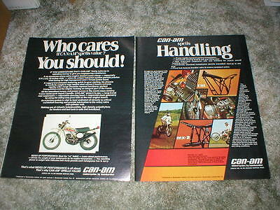 1975 Can-Am  Motorcycle ADS Original ( lot of 2 ads ) t'nt  mx-2  vintage