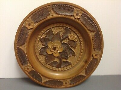 Antique Black Forest Beautiful Carved Flowers Bowl Rare