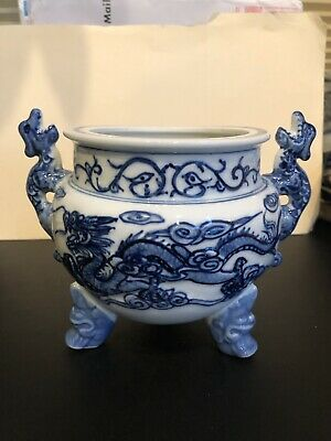 Vintage Asian/Chinese Porcelain Dragon Bowl / Pot Blue and White -Rare