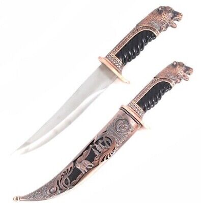 """NEW 14"""" Bronze Bear Fixed Stainless Dagger Blade Hunting Knife With Scabbard"""